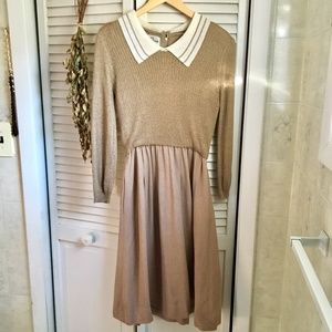 {Vintage} Acrylic and Linen Tan Sweater Dress, M